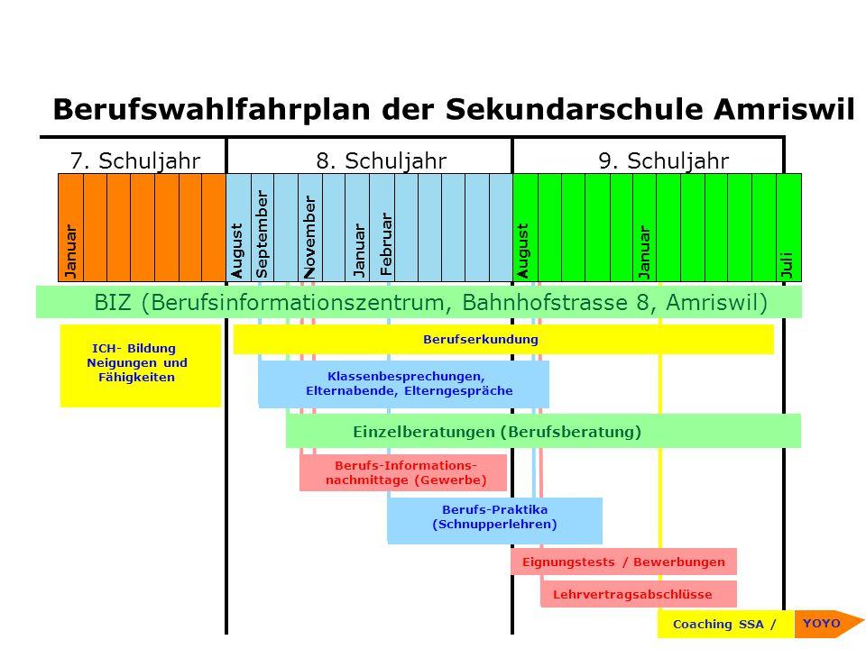 Berufswahlfahrplan der Sekundarschule Amriswil