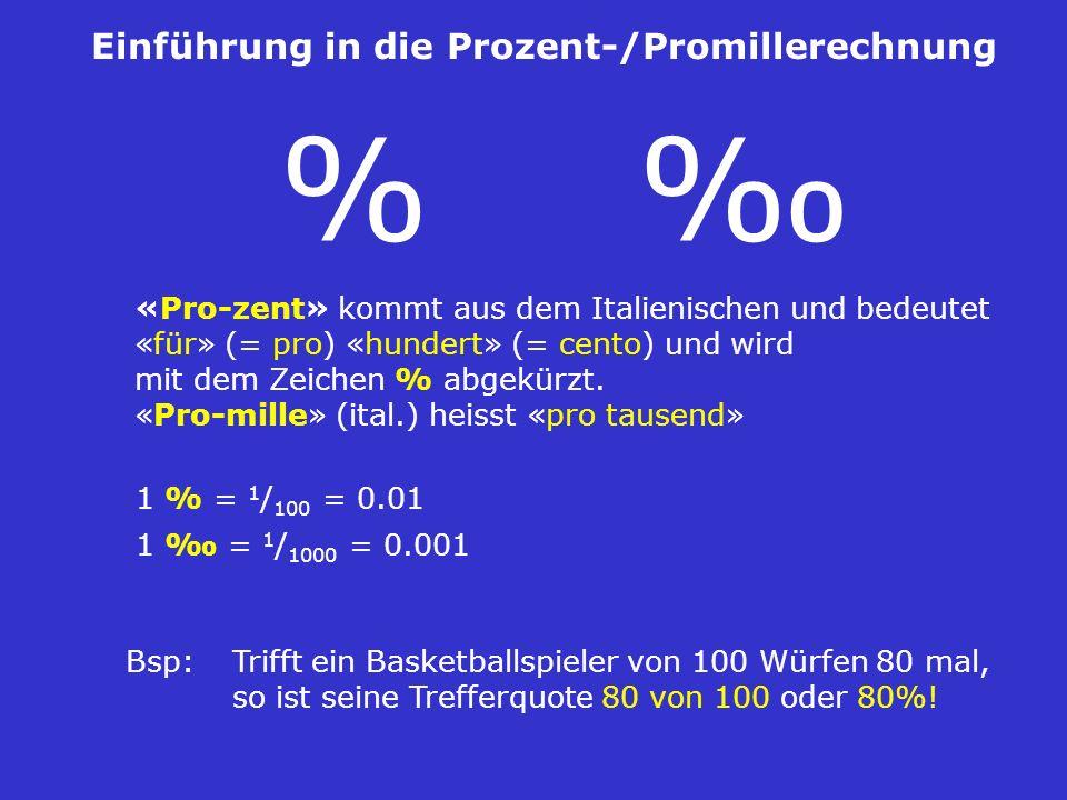 % ‰ Einführung in die Prozent-/Promillerechnung