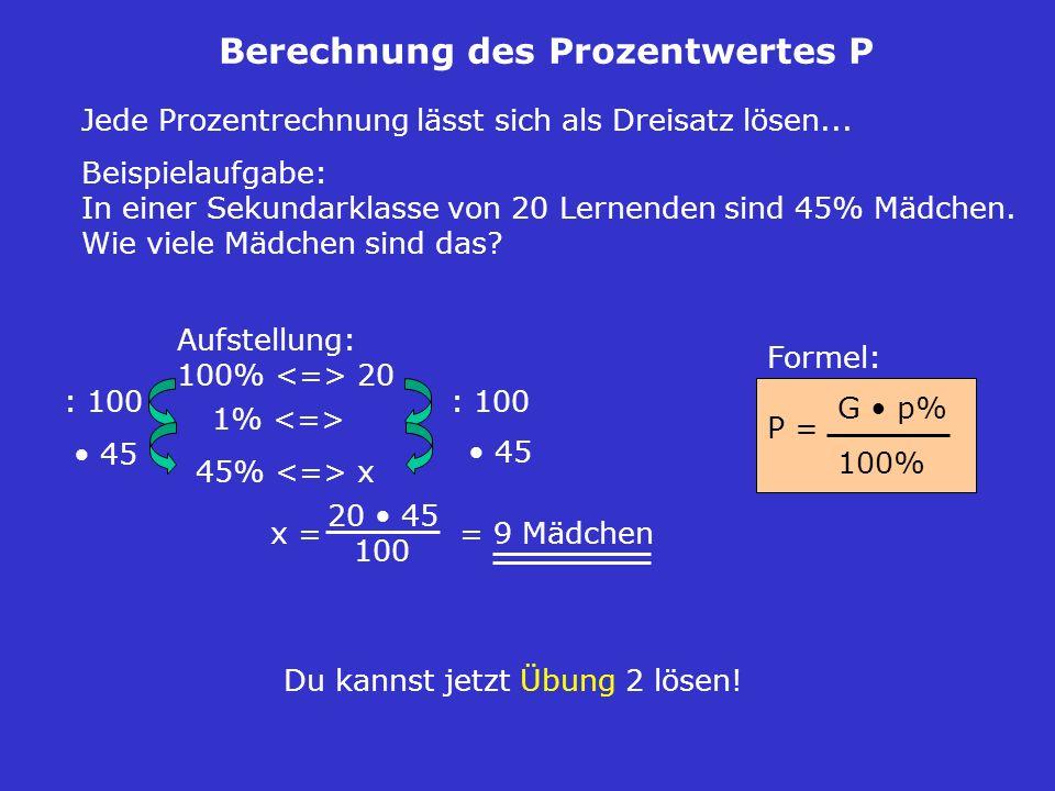 Berechnung des Prozentwertes P
