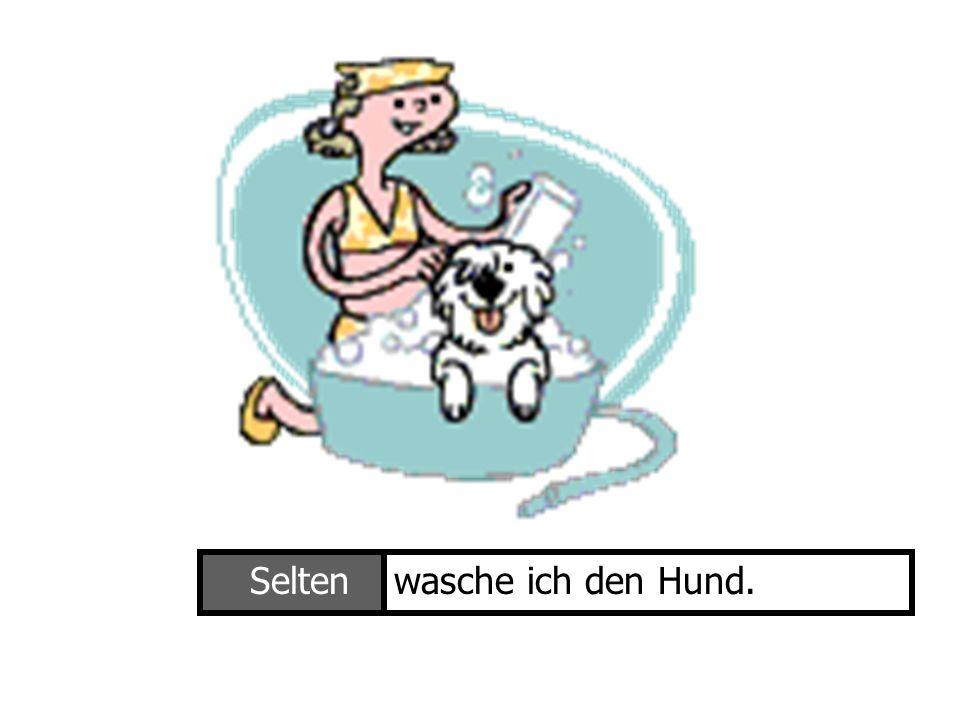 Selten wasche ich den Hund. Ich wasche den Hund
