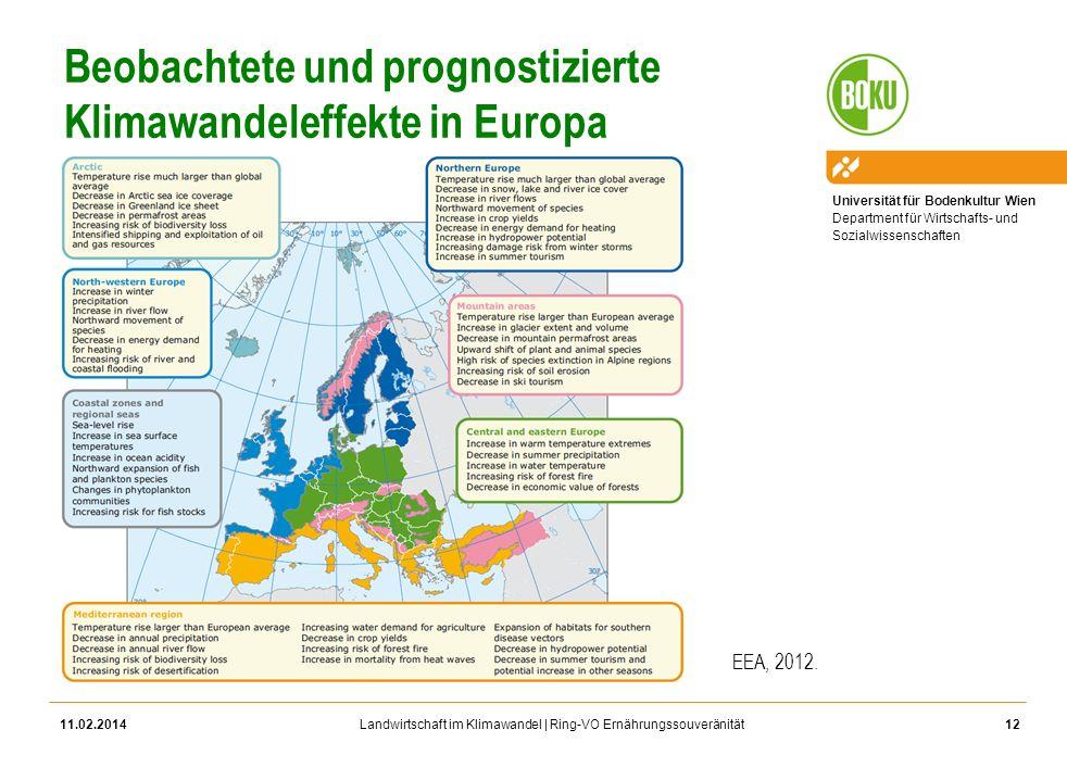 Beobachtete und prognostizierte Klimawandeleffekte in Europa