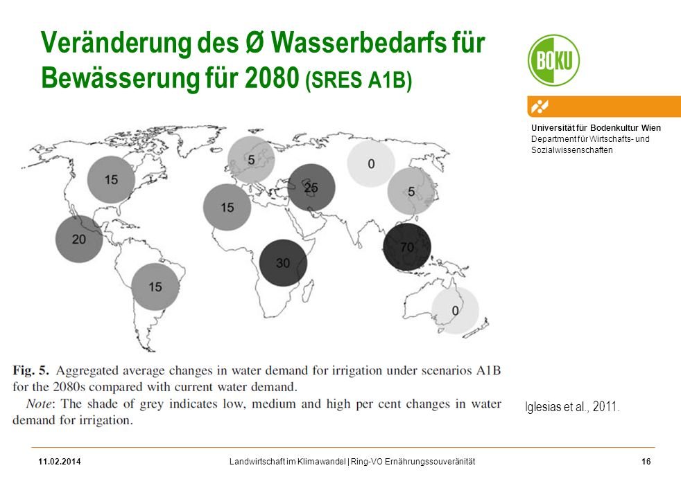 Veränderung des Ø Wasserbedarfs für Bewässerung für 2080 (SRES A1B)