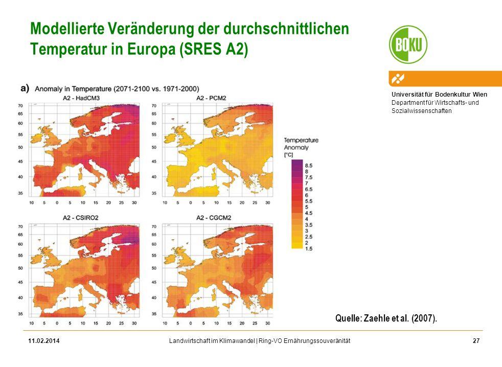 Modellierte Veränderung der durchschnittlichen Temperatur in Europa (SRES A2)
