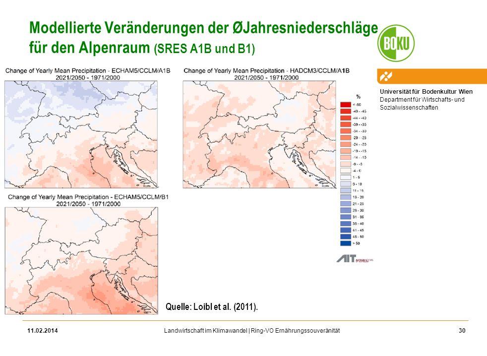 Modellierte Veränderungen der ØJahresniederschläge für den Alpenraum (SRES A1B und B1)