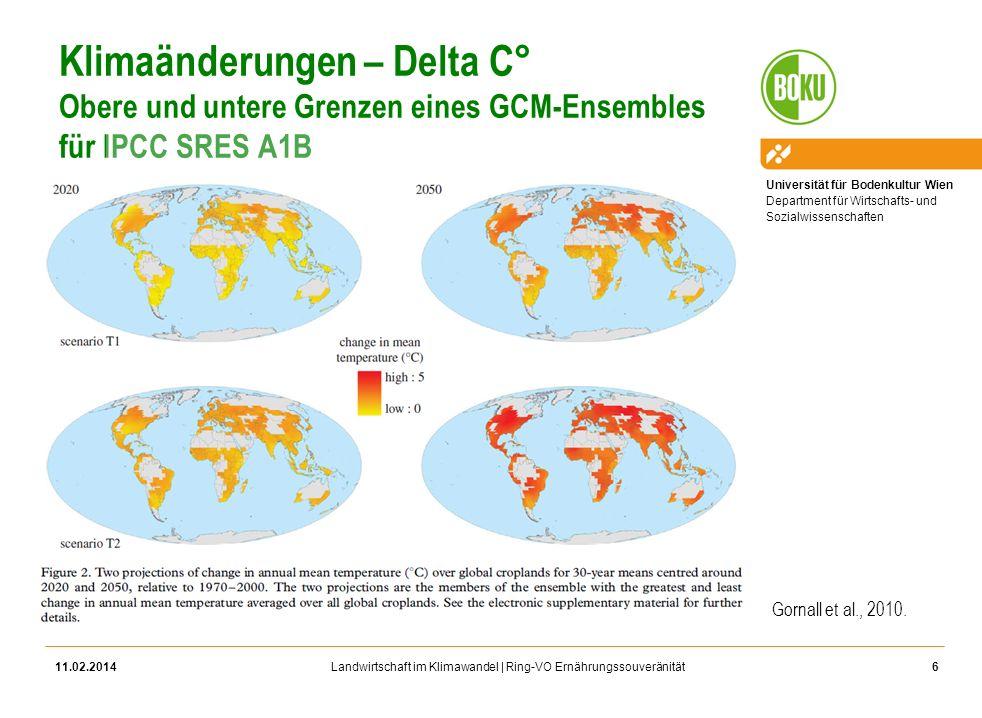 Klimaänderungen – Delta C° Obere und untere Grenzen eines GCM-Ensembles für IPCC SRES A1B