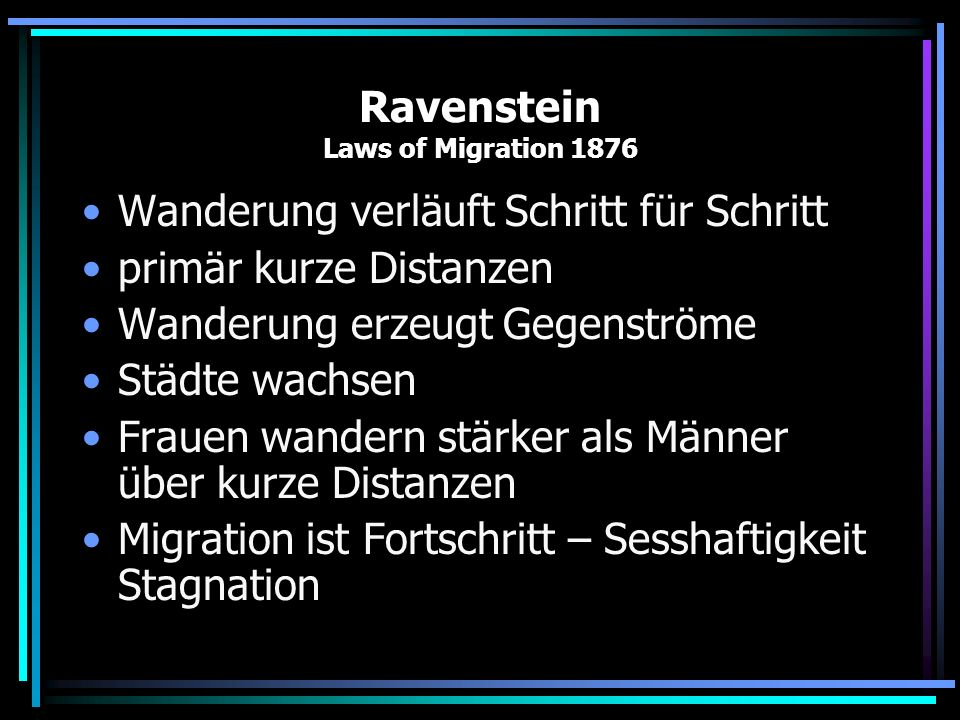 Ravenstein Laws of Migration 1876
