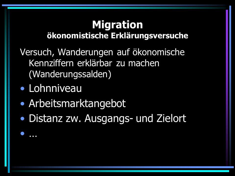 Migration ökonomistische Erklärungsversuche