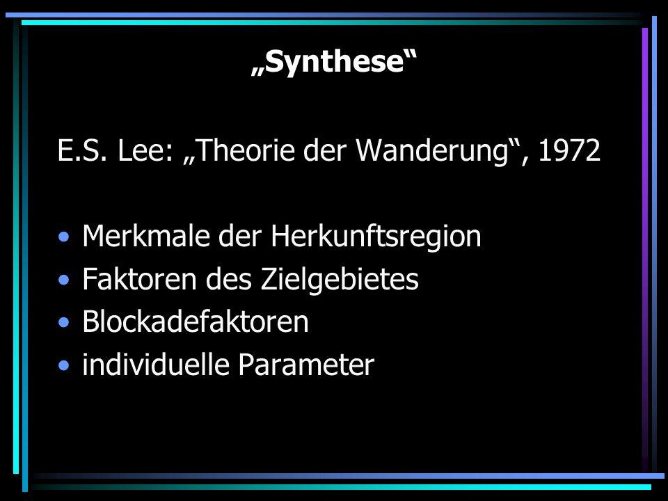 """""""Synthese E.S. Lee: """"Theorie der Wanderung , 1972. Merkmale der Herkunftsregion. Faktoren des Zielgebietes."""