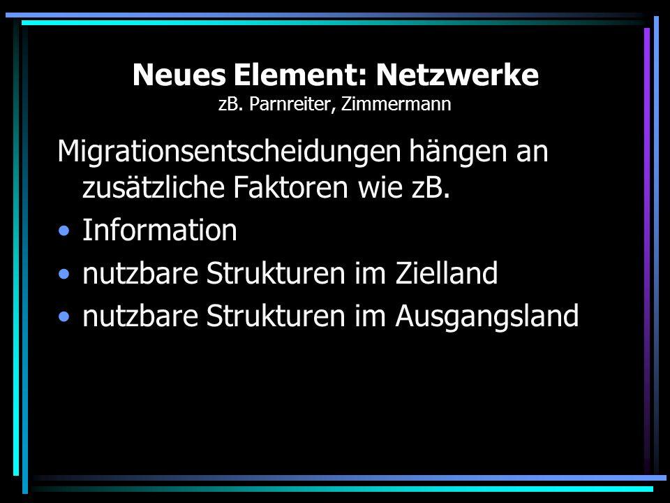 Neues Element: Netzwerke zB. Parnreiter, Zimmermann