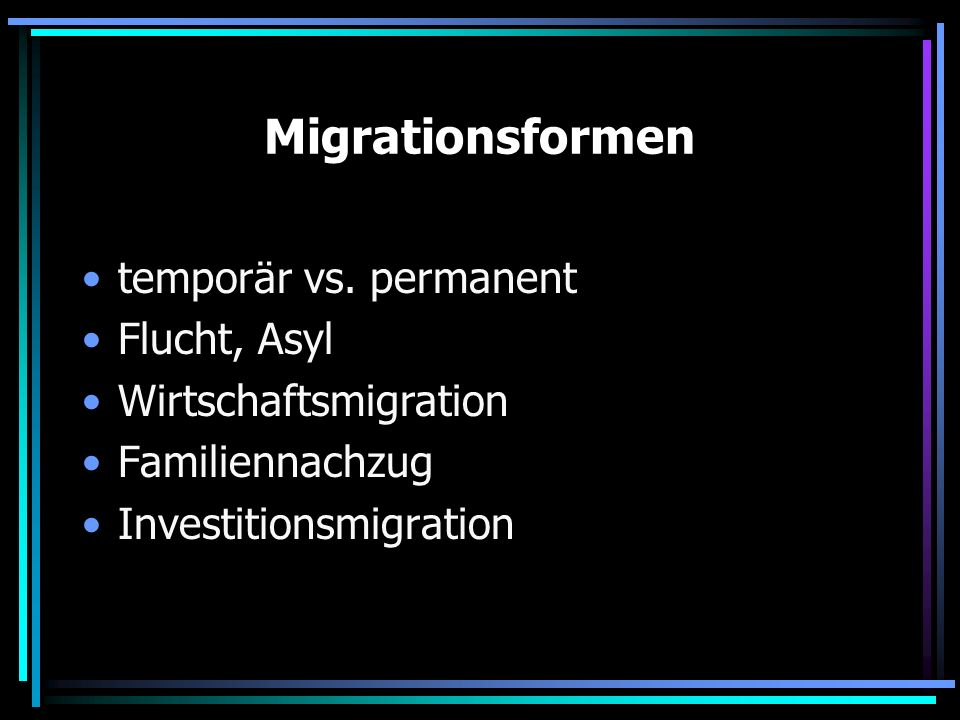 Migrationsformen temporär vs. permanent Flucht, Asyl