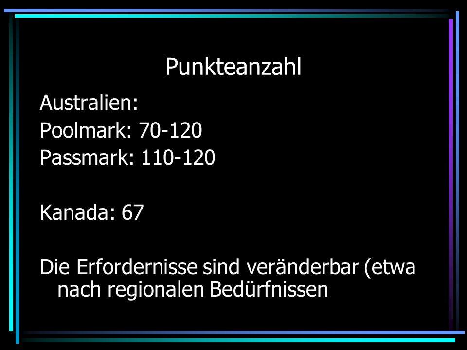 Punkteanzahl Australien: Poolmark: 70-120 Passmark: 110-120 Kanada: 67