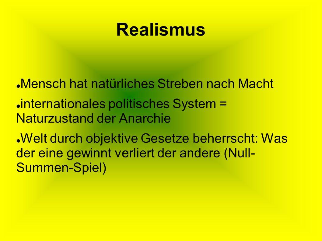 Realismus Mensch hat natürliches Streben nach Macht