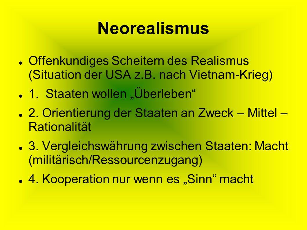 """Neorealismus Offenkundiges Scheitern des Realismus (Situation der USA z.B. nach Vietnam-Krieg) 1. Staaten wollen """"Überleben"""