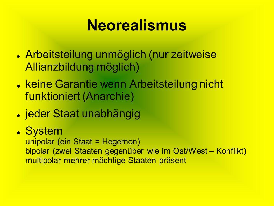 Neorealismus Arbeitsteilung unmöglich (nur zeitweise Allianzbildung möglich) keine Garantie wenn Arbeitsteilung nicht funktioniert (Anarchie)