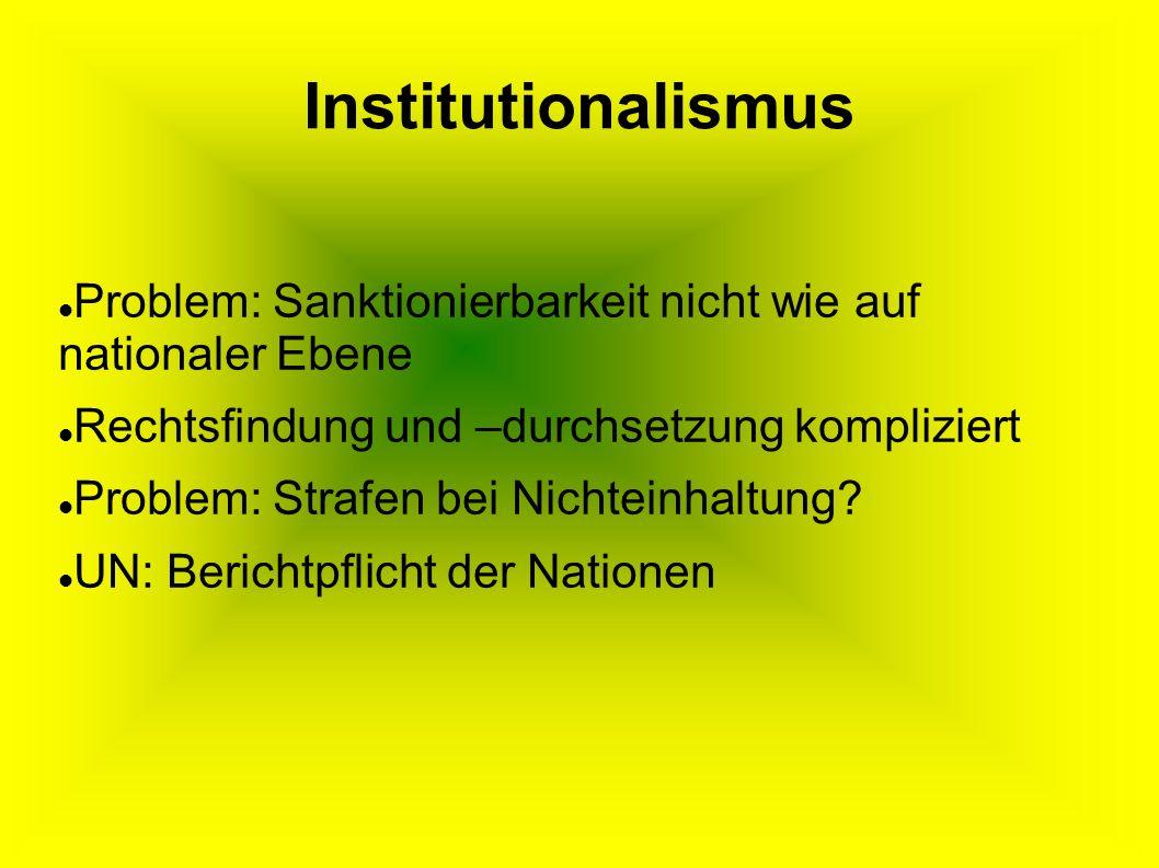 Institutionalismus Problem: Sanktionierbarkeit nicht wie auf nationaler Ebene. Rechtsfindung und –durchsetzung kompliziert.