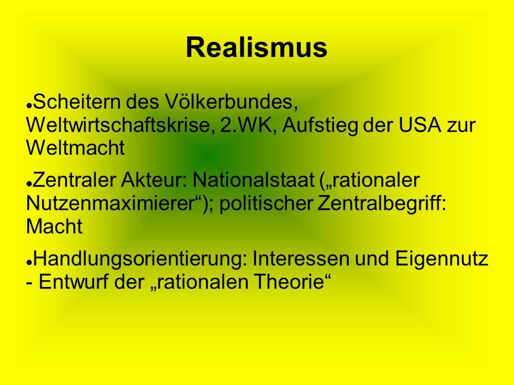 Realismus Scheitern des Völkerbundes, Weltwirtschaftskrise, 2.WK, Aufstieg der USA zur Weltmacht.