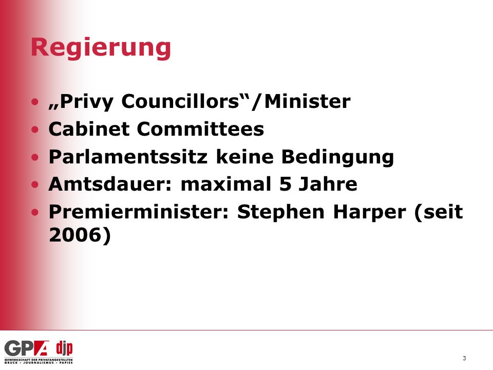 "Regierung ""Privy Councillors /Minister Cabinet Committees"