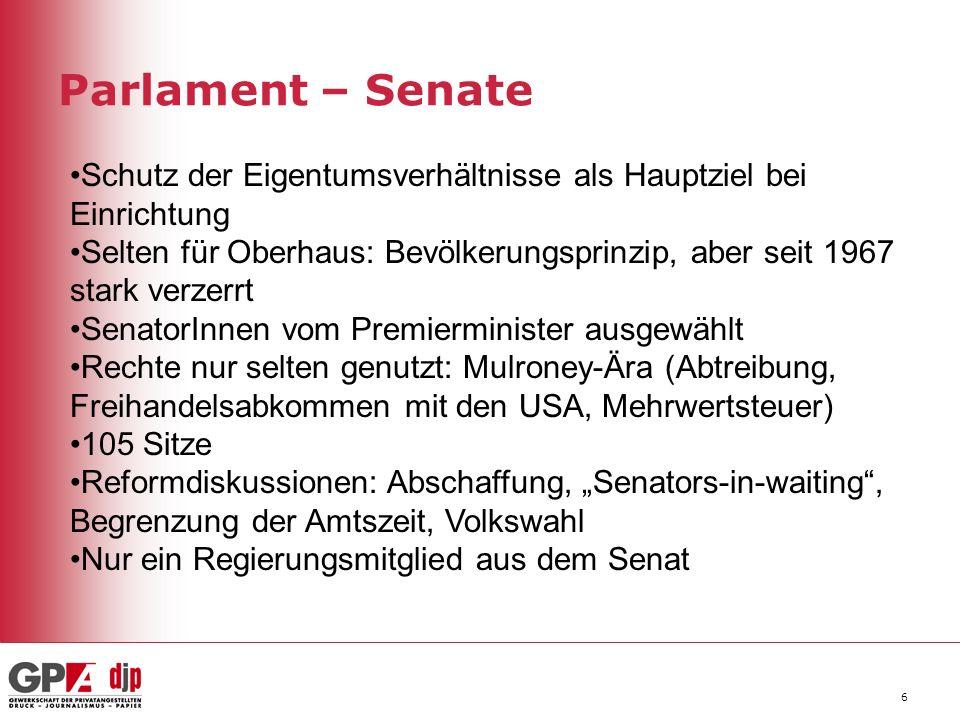 Parlament – Senate Schutz der Eigentumsverhältnisse als Hauptziel bei Einrichtung.