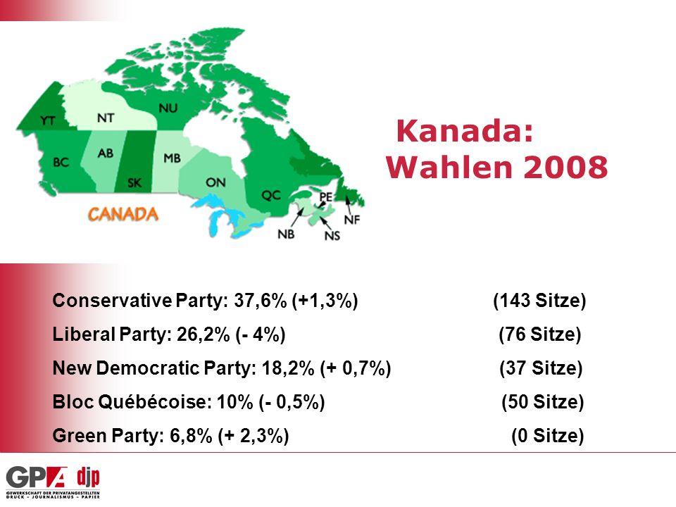 Kanada: Wahlen 2008 Conservative Party: 37,6% (+1,3%) (143 Sitze)