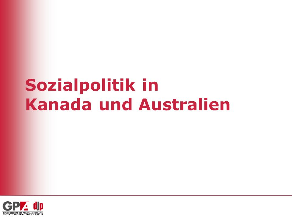 Sozialpolitik in Kanada und Australien