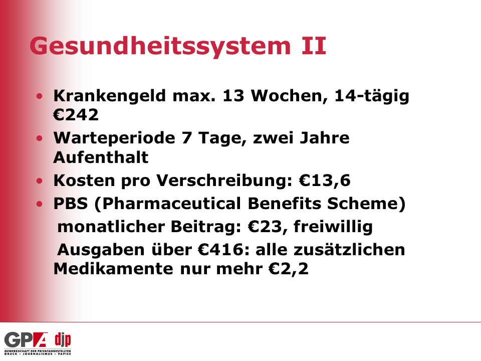 Gesundheitssystem II Krankengeld max. 13 Wochen, 14-tägig €242