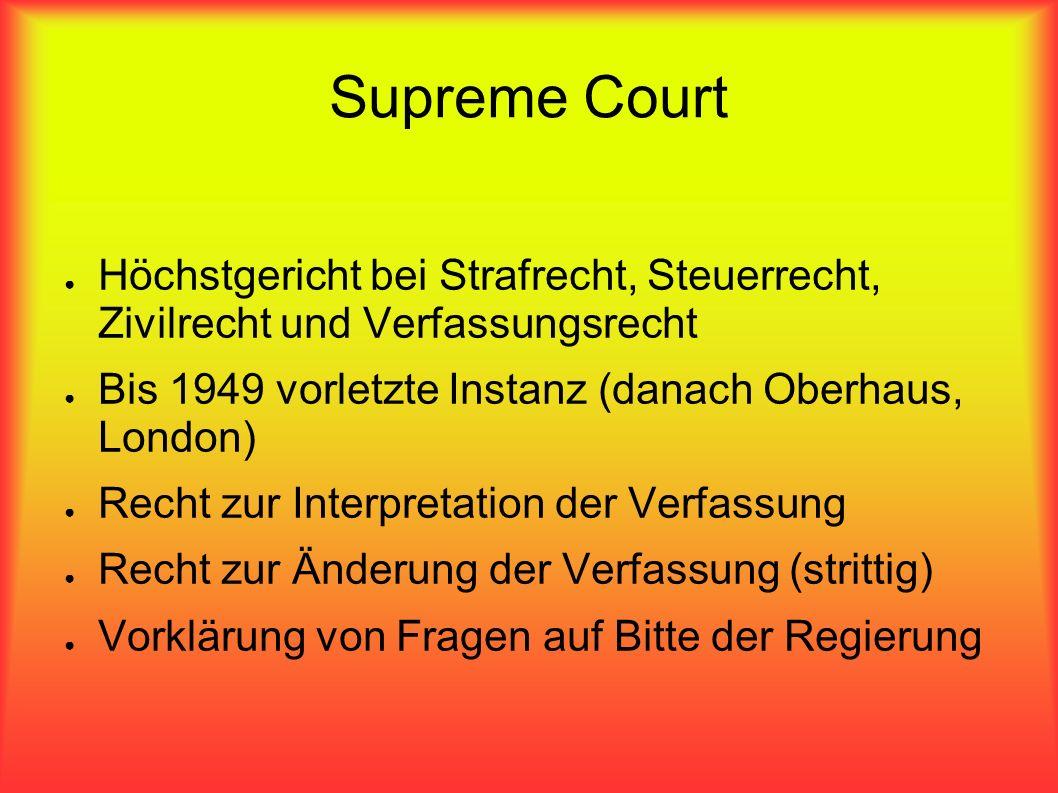 Supreme Court Höchstgericht bei Strafrecht, Steuerrecht, Zivilrecht und Verfassungsrecht. Bis 1949 vorletzte Instanz (danach Oberhaus, London)