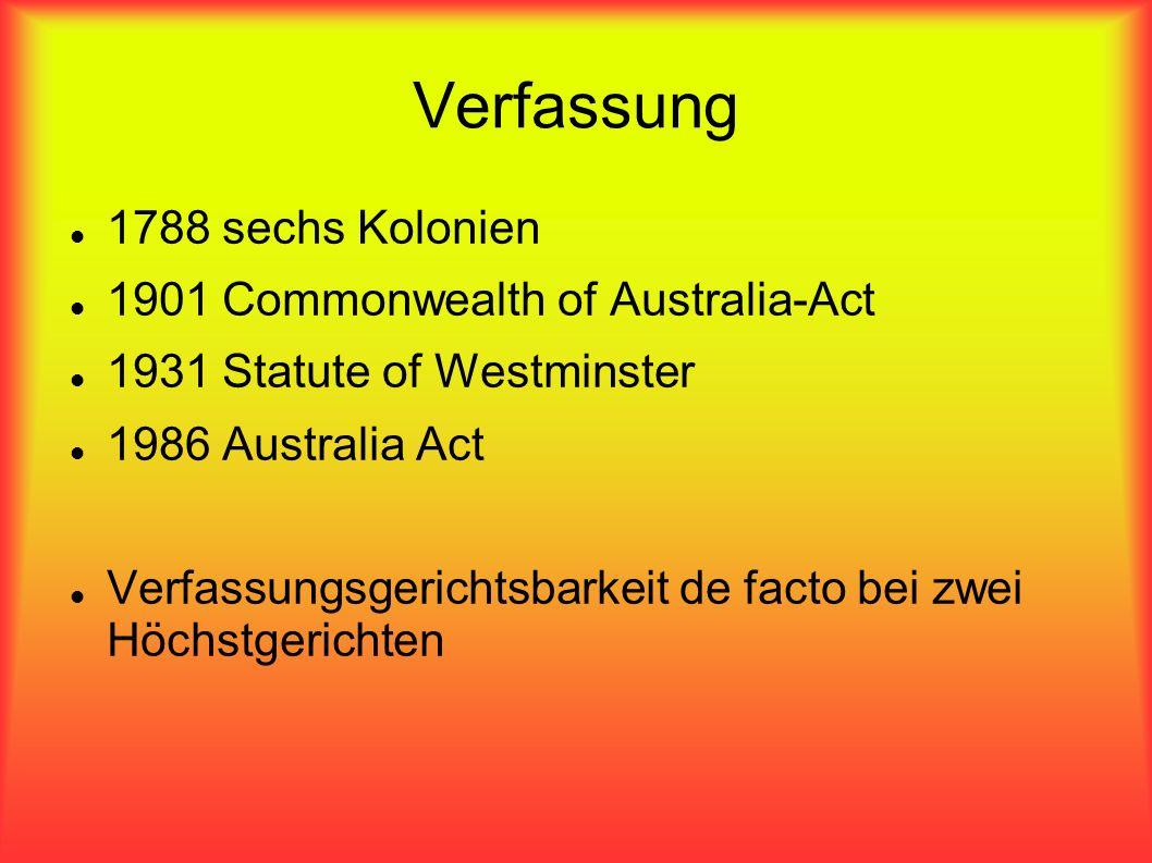 Verfassung 1788 sechs Kolonien 1901 Commonwealth of Australia-Act