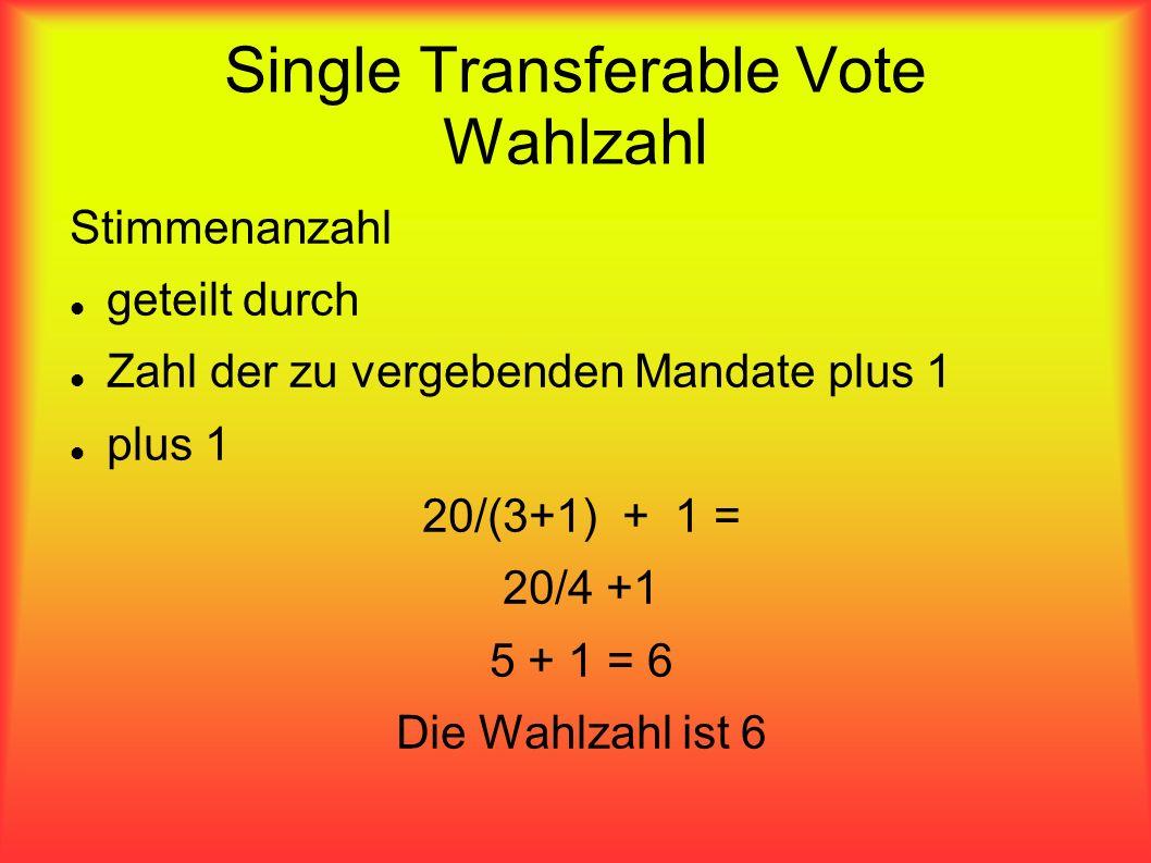 Single Transferable Vote Wahlzahl