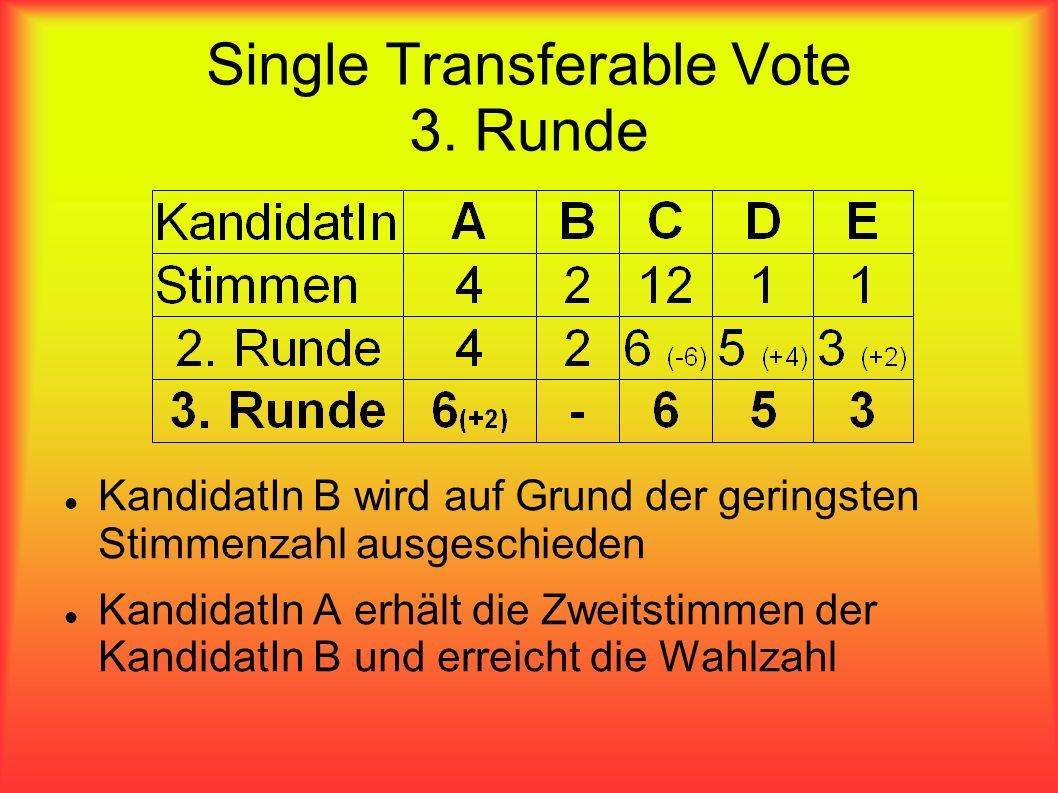 Single Transferable Vote 3. Runde