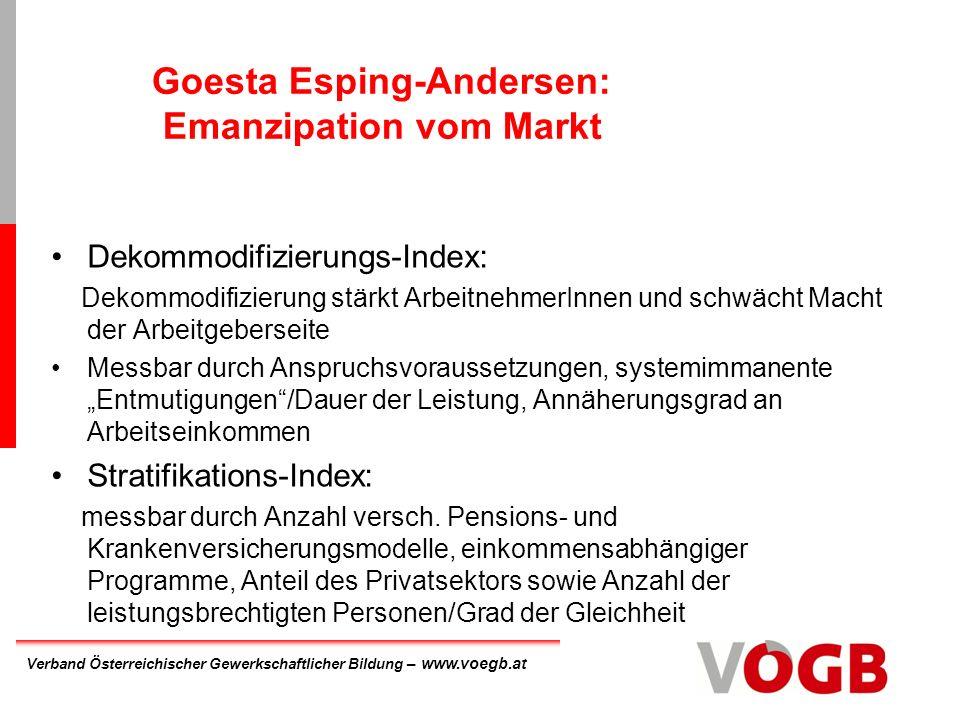 Goesta Esping-Andersen: Emanzipation vom Markt