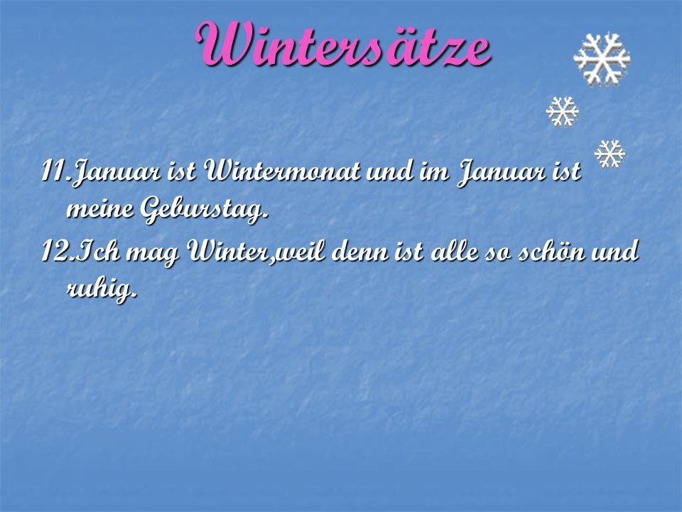 Wintersätze 11.Januar ist Wintermonat und im Januar ist meine Geburstag.
