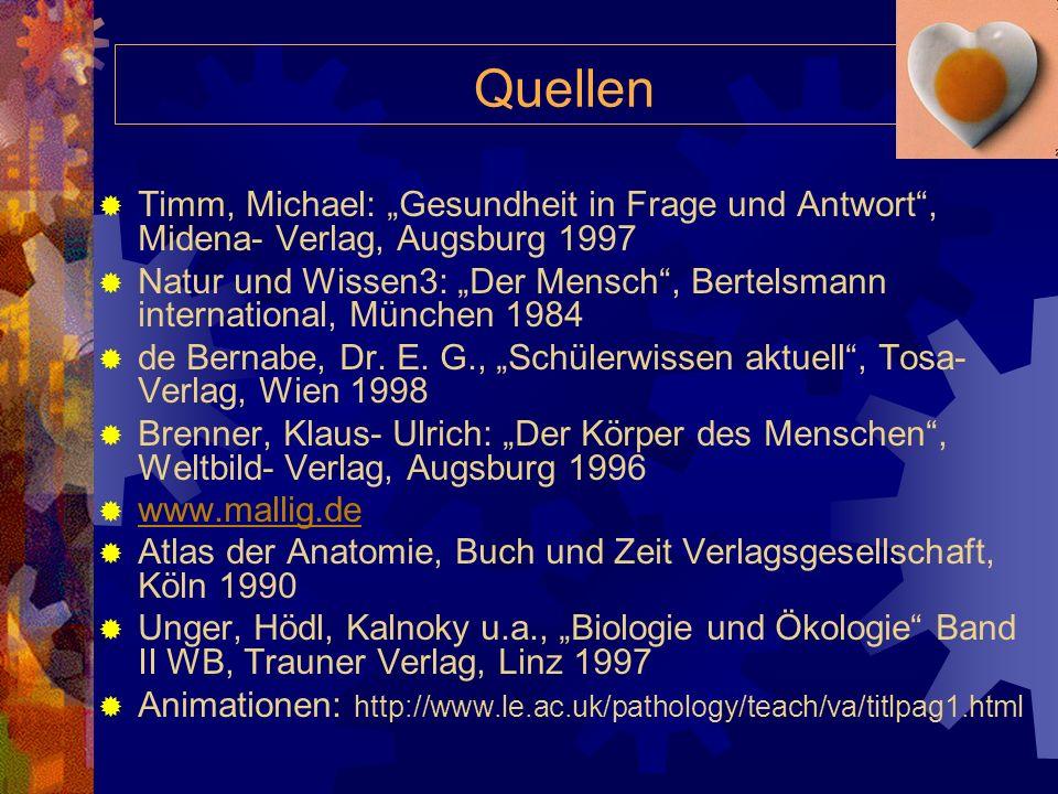 """Quellen Timm, Michael: """"Gesundheit in Frage und Antwort , Midena- Verlag, Augsburg 1997."""