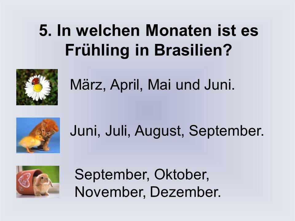 5. In welchen Monaten ist es Frühling in Brasilien