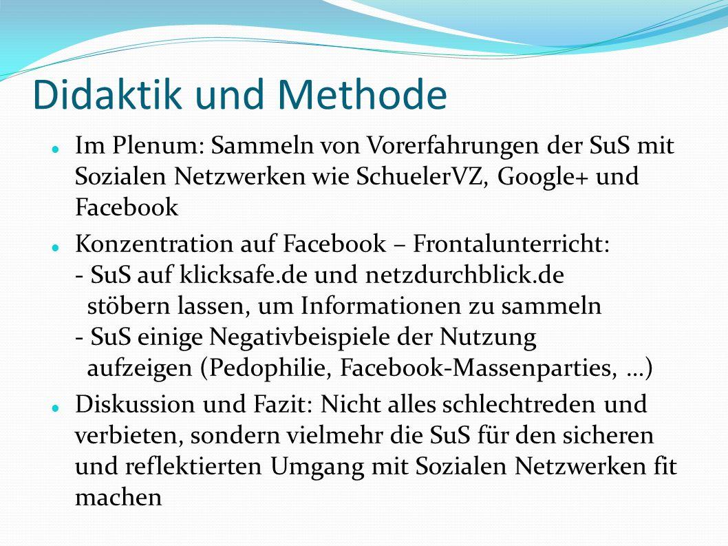 Didaktik und Methode Im Plenum: Sammeln von Vorerfahrungen der SuS mit Sozialen Netzwerken wie SchuelerVZ, Google+ und Facebook.