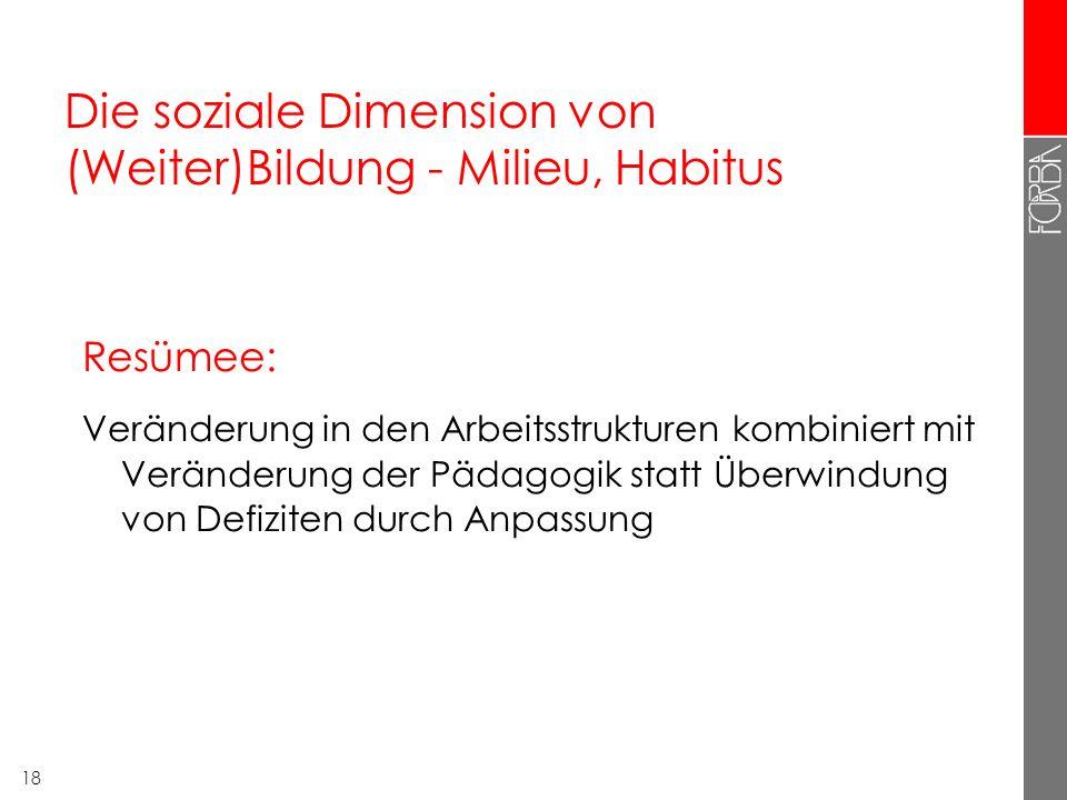 Die soziale Dimension von (Weiter)Bildung - Milieu, Habitus