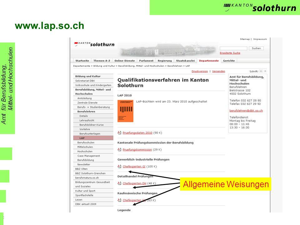 www.lap.so.ch Allgemeine Weisungen Mittel- und Hochschulen