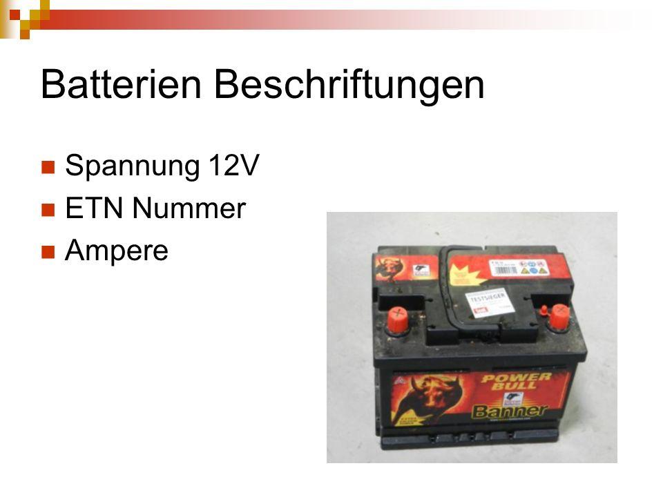 Batterien Beschriftungen