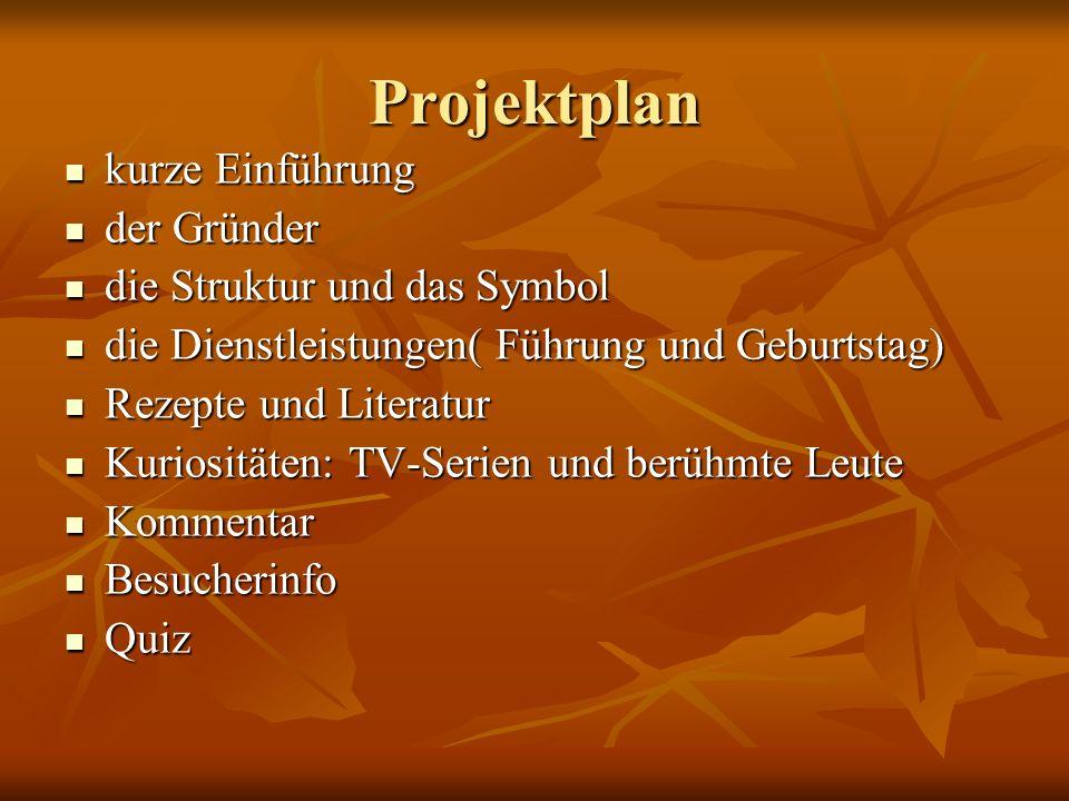 Projektplan kurze Einführung der Gründer die Struktur und das Symbol