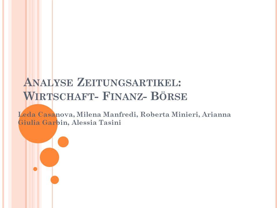 Analyse Zeitungsartikel: Wirtschaft- Finanz- Börse