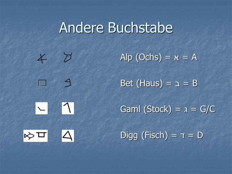 Andere Buchstabe Alp (Ochs) = אּ = A Bet (Haus) = ב = B