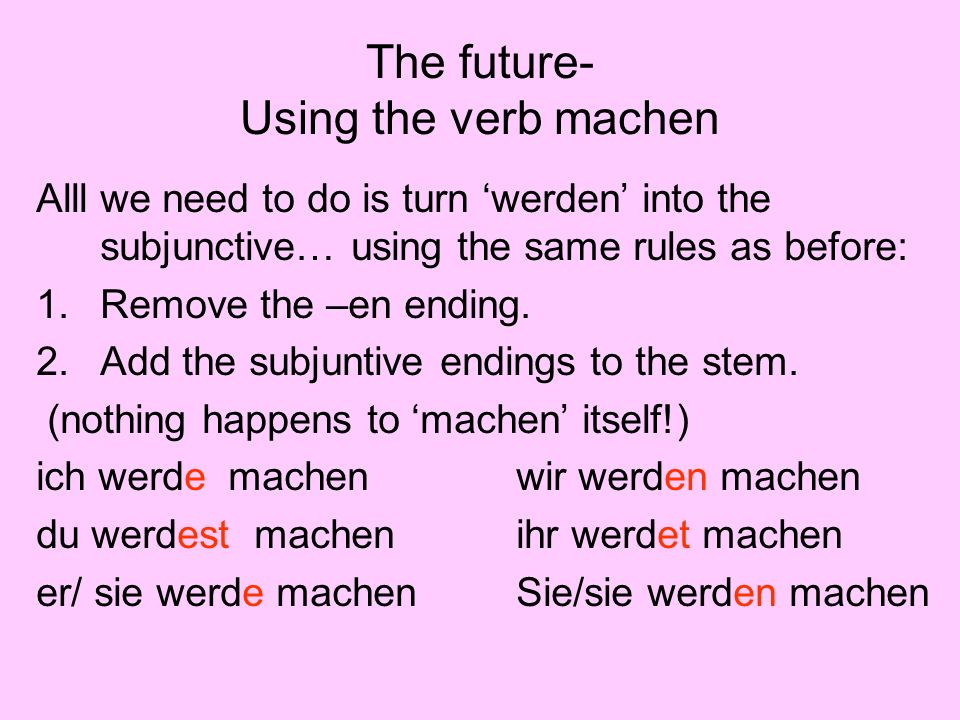 The future- Using the verb machen