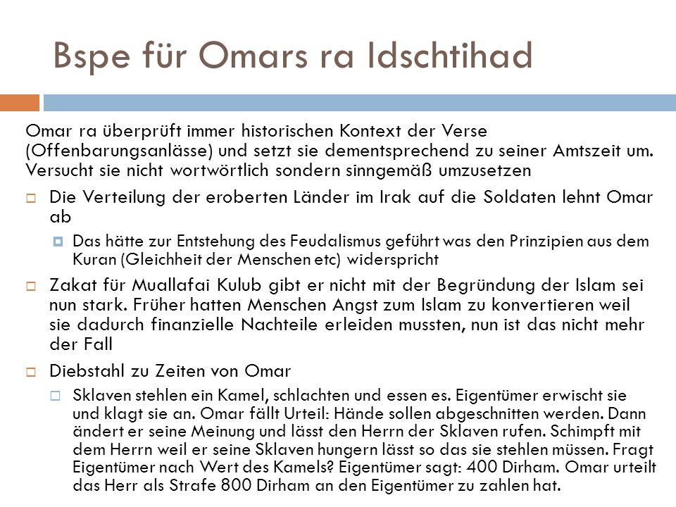 Bspe für Omars ra Idschtihad