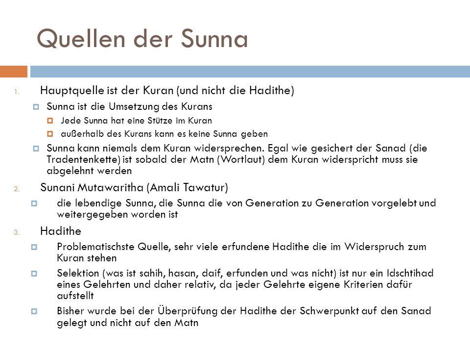Quellen der Sunna Hauptquelle ist der Kuran (und nicht die Hadithe)