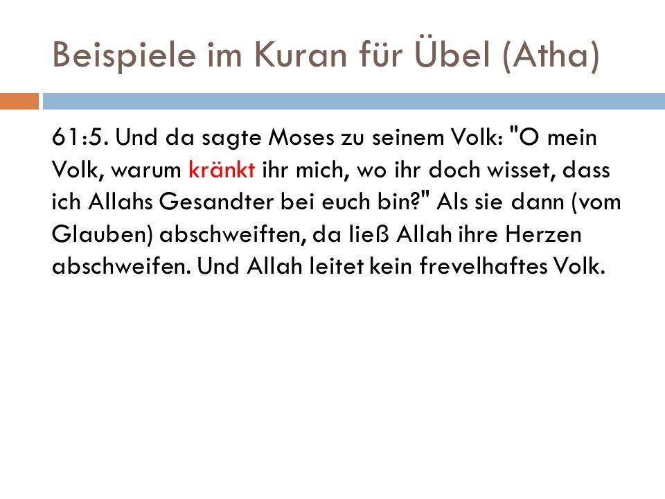 Beispiele im Kuran für Übel (Atha)