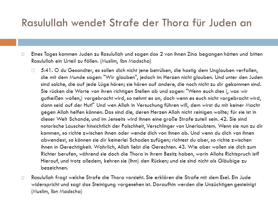Rasulullah wendet Strafe der Thora für Juden an