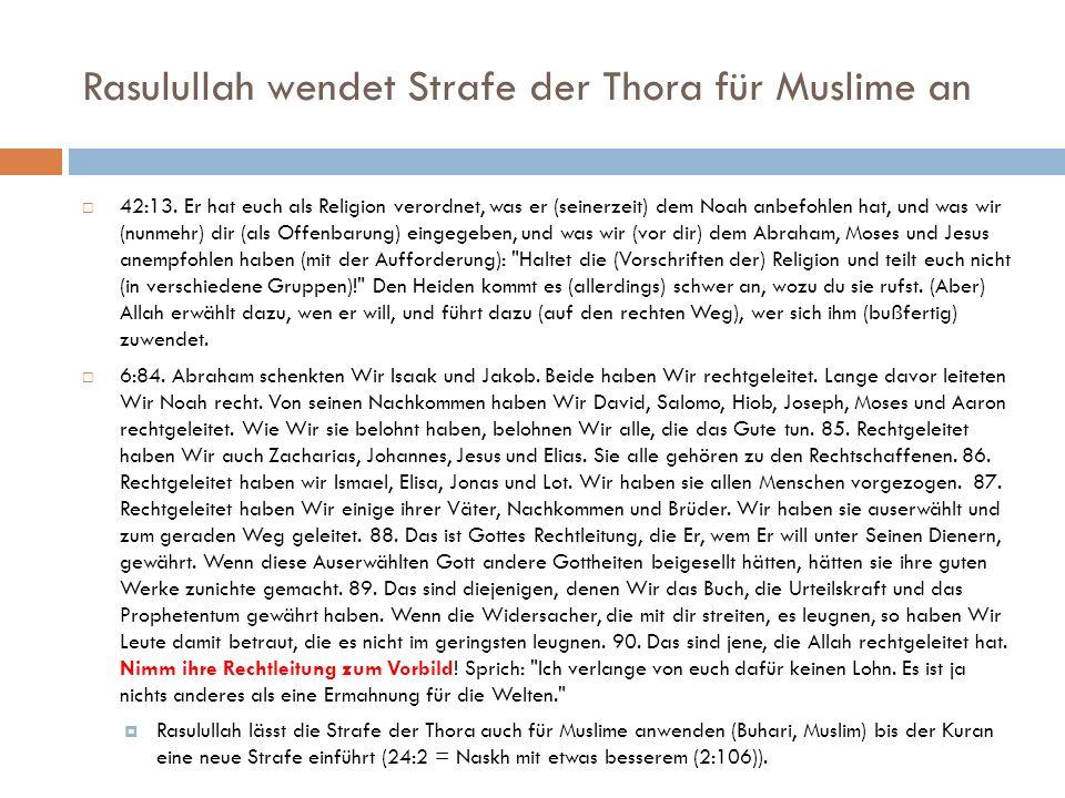 Rasulullah wendet Strafe der Thora für Muslime an