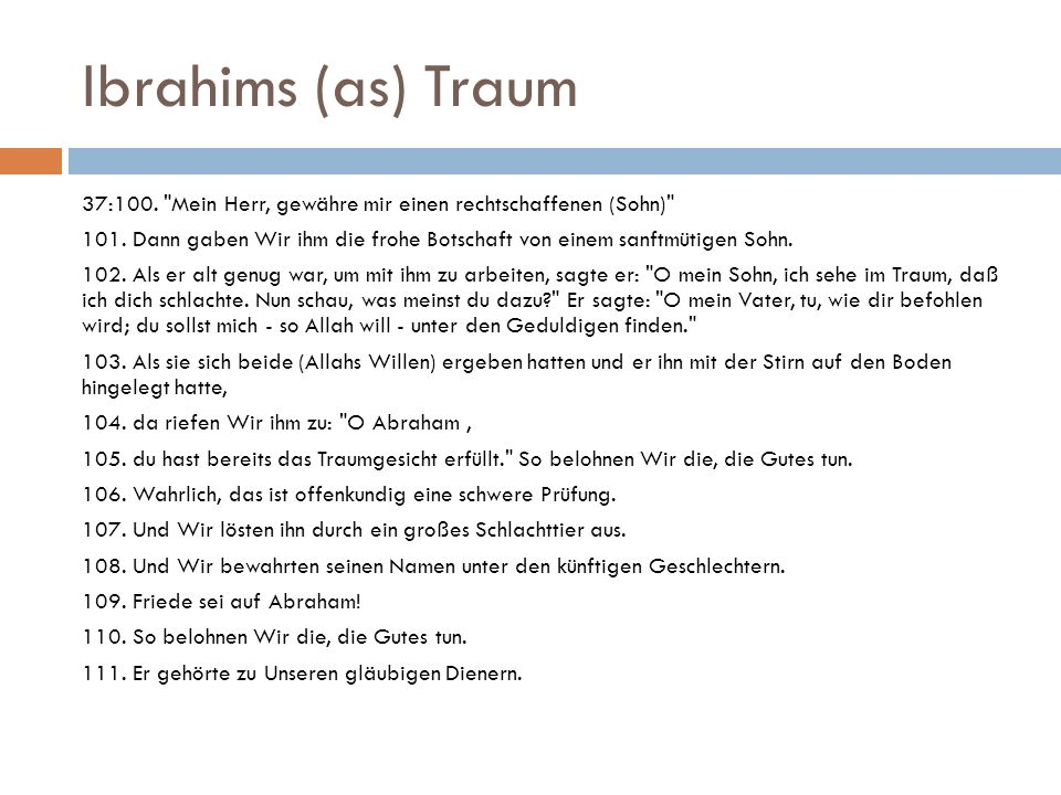 Ibrahims (as) Traum