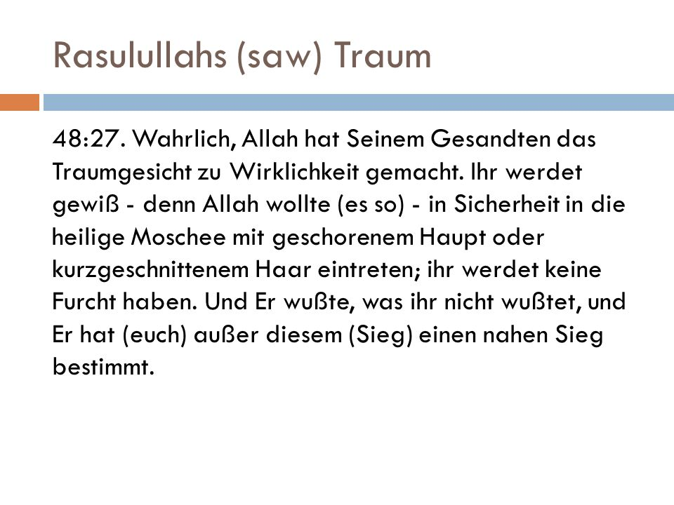 Rasulullahs (saw) Traum