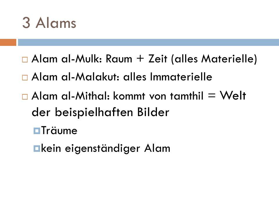 3 Alams Alam al-Mulk: Raum + Zeit (alles Materielle)