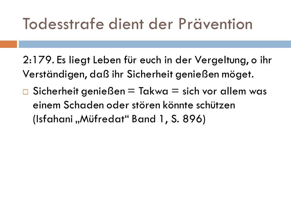 Todesstrafe dient der Prävention